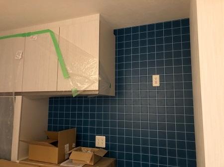 キッチン後壁アクセント